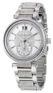 Michael Kors Crystal Pave Allover Silver tone Stainless Steel Luxury Designer Ladies Dress Watch