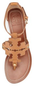 Tory Burch Sandals Size 10 Logo Leather Pebbled Leather Royal Tan Wedges