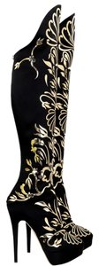 Charlotte Olympia Prosperity Over The Knee Metallic Appliqued Embellished Black and Gold Boots
