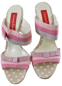 Christian Lacroix New With Tags Polka Pink / Taupe Sandals