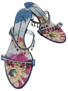 Giuseppe Zanotti Beaded New With Tags Size 8.5 Denim / Muti-color Floral Sandals
