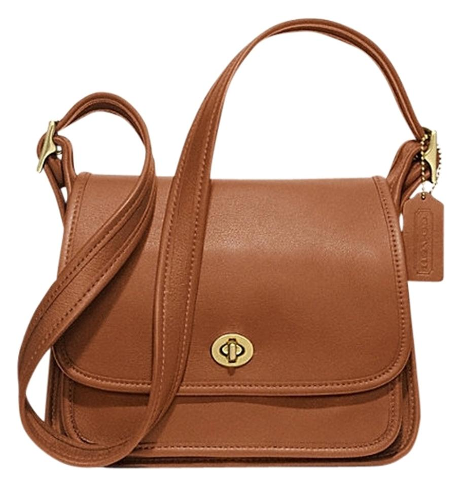 f1b6fbb456ef Coach Glovetanned Leather Classic Tan Vintage British Tan Turnlock Shoulder  Classic Cross Body Bag Image 0 ...