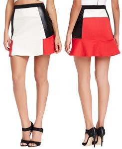 Romeo & Juliet Couture Colorblock Faux Leather Skirt Ivory/Red
