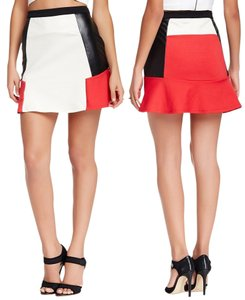 Romeo & Juliet Couture Color-blocking Faux Leather Skirt