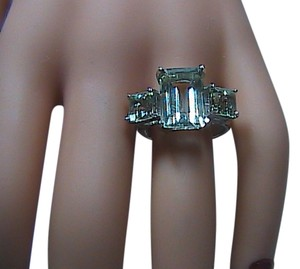 Unknown Sterling Silver Huge Light Green-Blue Stone Ring