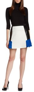 Romeo & Juliet Couture Colorblock Faux Leather Skirt Ivory/Blue