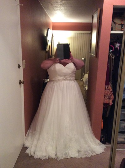 Allure Bridals Ivory Silk 9014 Formal Wedding Dress Size 28 (Plus 3x)