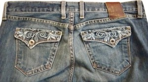 Lucky Brand Embroidered Pockets Leather Tag On Back Boot Cut Jeans-Medium Wash