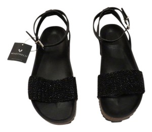 Martinelli 736-6165pym Crystal Bead Detail Contoured Footbed Cork Mid-sole Made In Spain Black Sandals