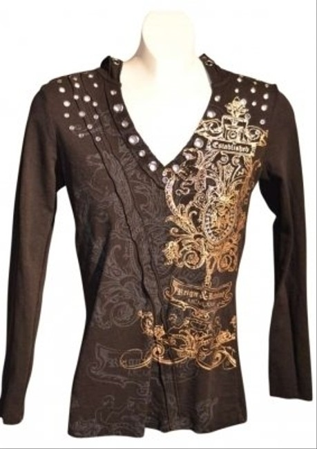 "Pepe Jeans Design V-neck Long Sleeved Black With Gold Embellished Very Cute! Measurements Are: 17"" Underarm To Underarm (laying Flat) Sweatshirt"