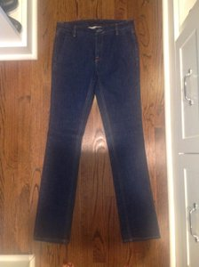 Victoria Beckham Leather Brand Tag Straight Leg Jeans-Dark Rinse