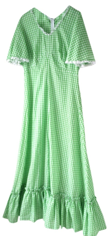 865b58dbf947c Gingham Check Green Vintage 1970s Country-picnic-little-house-on-the-prairie -dress Casual Maxi Dress