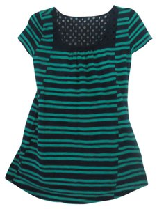 Anthropologie Meadow Rue Striped Green Eyelet Tunic