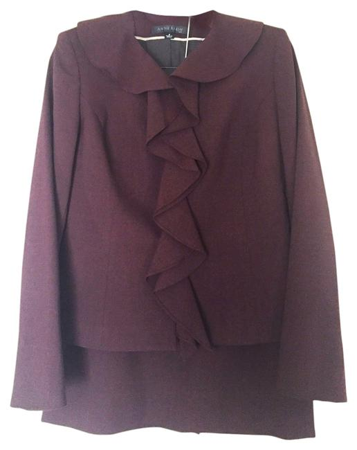 Preload https://img-static.tradesy.com/item/12342970/anne-klein-wine-burgundy-ruffle-skirt-suit-size-4-s-0-1-650-650.jpg