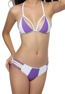 Strappy Cutout Two-Tone Swimsuit Purple and White Sexy Swim Set in Sizes XS/S