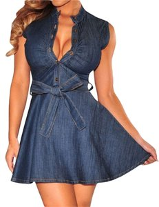 HUUSA short dress Blue Mini Womens Denim Cocktail on Tradesy
