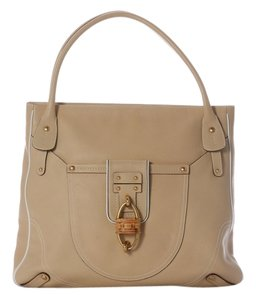Salvatore Ferragamo Beige Leather Sf.j0408.06 Wicker Tote