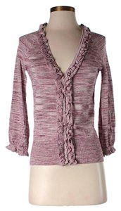 Magaschoni Silk Metallic Ruffle Cardigan