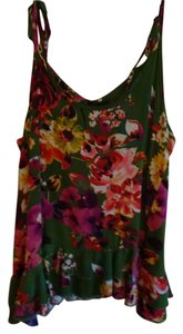Fleurish Top Green, colored flowers - pink,yellow,white,maroon,purples, ruffled back, tie top sleeves