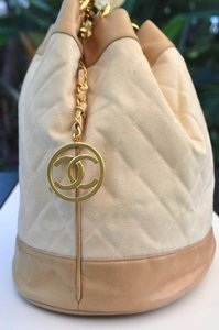 Chanel Gold Chain Canvas Leather Backpack