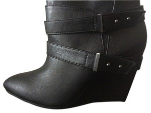 Charlotte Russe Wedge Boot Black Boots