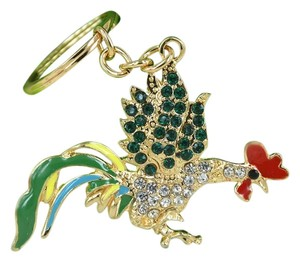 Colorful Rhinestone Enamel Rooster Key Chain Key Ring Free Shipping