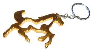 Light Weight Gold Colored Horse Key Chain Key Ring Free Shipping