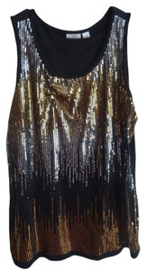 Cato Top Black with gold and silver sequins