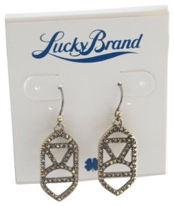Lucky Brand Pave Gold-Tone Open-Work Drop Earrings