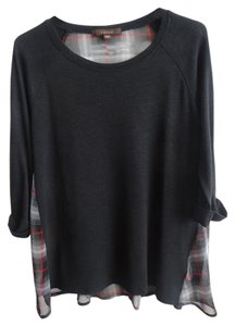 Fever T Shirt Black t-shirt with silky plaid back