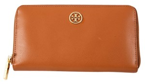Tory Burch * TORY BURCH Brown Robinson Zip Continental Wallet