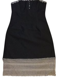 Anna Sui short dress Dark blue grey jeans with white on Tradesy