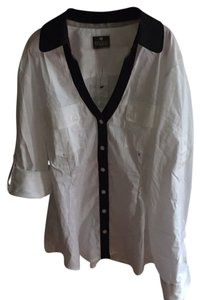Express Button Down Shirt White with Black trim