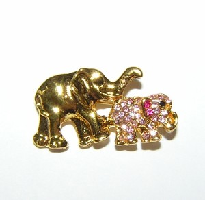 Mom & Baby Gold And Pink Rhinestone Elephant Pin Free Shipping