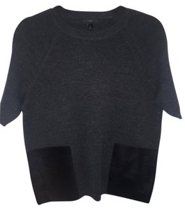 J.Crew Merino Wool Leather Pockets T Shirt Charcoal