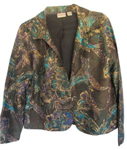 Chico's Silk dark olive green with floral print Blazer