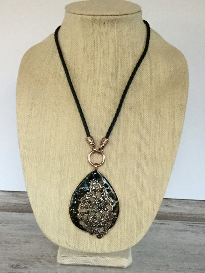 Other Paisley Teardrop Long Pendant Necklace with Crystal Accents