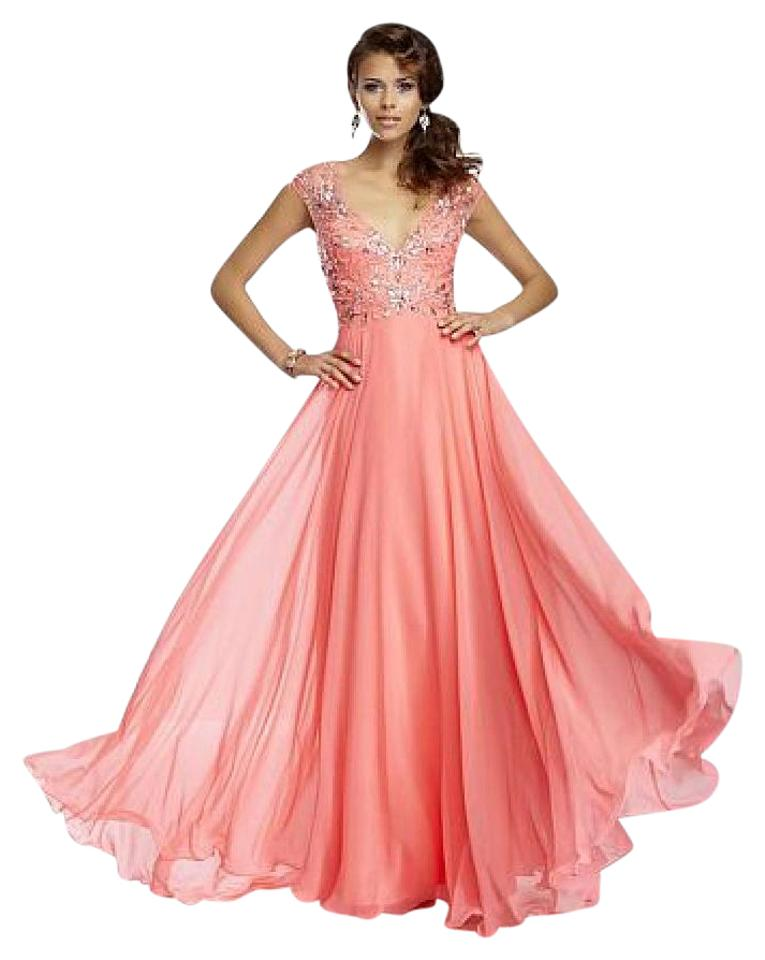 Mori Lee Bright Coral A-line Illusion Sleeve Prom Long Formal Dress ...