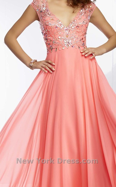 Mori Lee Prom A-line Cap Sleeves Open Back Illusion Dress Image 1