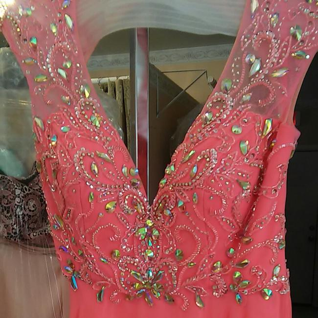 Mori Lee Prom A-line Cap Sleeves Open Back Illusion Dress Image 2