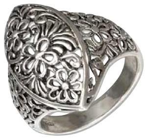 Other Sterling Silver Marquise Shape Filigree Flowers Ring