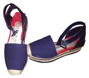 Isabel Toledo Nautical Espadrille Navy Wedges