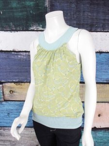 Sweet Pea by Stacy Frati Anthropologie Circle Polka Dot Nylon Mesh Blouse Top Blue, Green