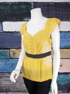 Anthropologie Floreat Solar Star Floral Embroidered Shirt Top Yellow