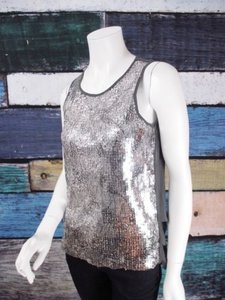 Esley Anthropologie Sequin Chiffon Animal Print Blouse Top Gray, Silver