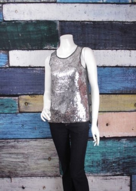 Esley Anthropologie Sequin Chiffon Animal Print Blouse Top Gray, Silver Image 1