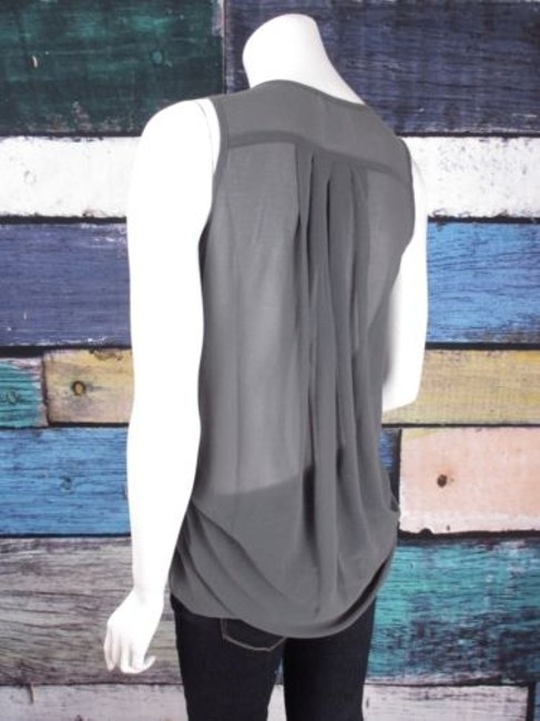 Esley Anthropologie Sequin Chiffon Animal Print Blouse Top Gray, Silver Image 3