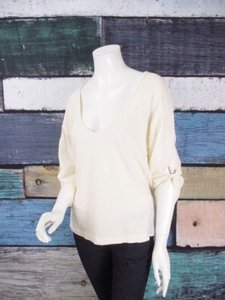 Splendid Anthropologie Roll Up Sleeves Oversized Cotton Shirt Top Cream