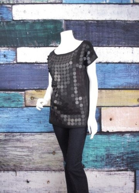 Romeo & Juliet Couture Sequin Circle Embellished Shirt Top Black Image 1