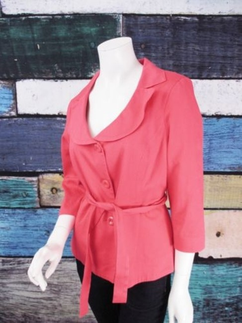 Preload https://img-static.tradesy.com/item/12348424/willi-smith-pink-belted-button-front-cotton-blend-jacket-blazer-0-0-650-650.jpg
